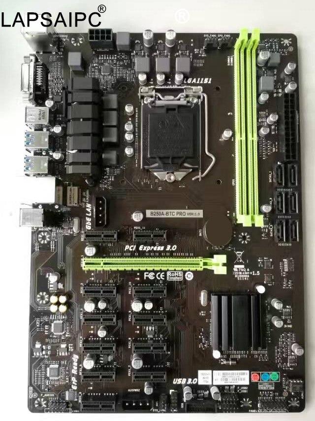 Lapsaipc B250A-BTC Pro B250A BTC pro original 12PCIE 1151 DDR4 mining board alternative TB250-BTC PRO H81 BTC PRO TB85 H81