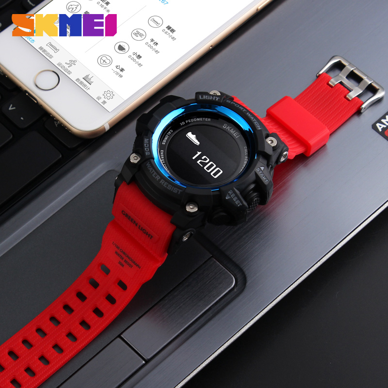 Men's Watches Smart Watch Heart Rate Sport Watches Men Bluetooth Pedometer Calorie Rechargeable Led Digital Wristwatch Reloj Hombre Skmei 2018