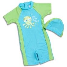 New Kid 1-12 year old Boys Rash Guards One Piece Swimsuit Blue & Green Octopus pattern Swimwear Swimming Cap summer wear
