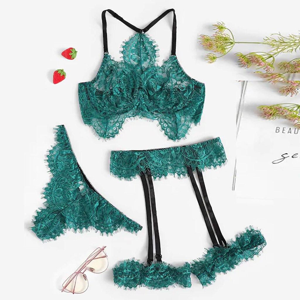Sexy Exquisite Lace Lingerie   Bra   and   Briefs   with Garter   Set   Babydoll Cut-Out Sleepwear Underwear Nightwear Gift for Girlfriend