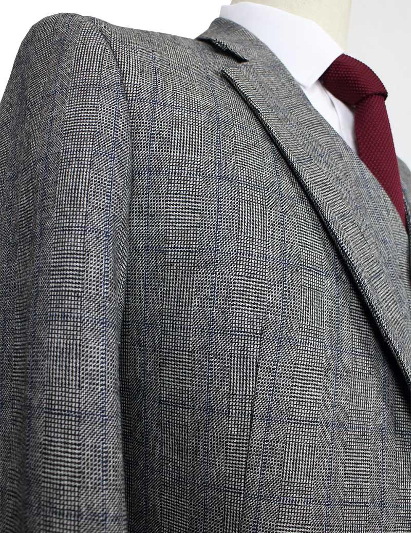 244208d5414 Wool Grey blue Tweed Men Custom Made men 3 piece suit tailor made slim fit  suits for men Blazer(Jacket+Pants+Vest)