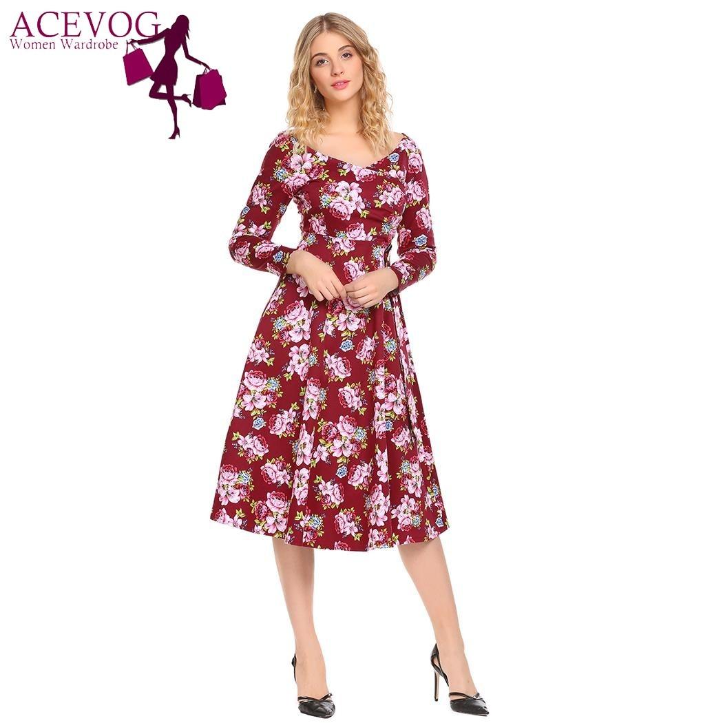 ACEVOG Femmes Swing Robe Vintage Wrap Split Printemps Automne V cou À Manches Longues En Dentelle Up Taille Haute Imprimé Parti Robes robes