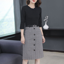 Plaid OL office dress women plus size knit vintage elegant 2019 spring summer party dresses robe black clothing
