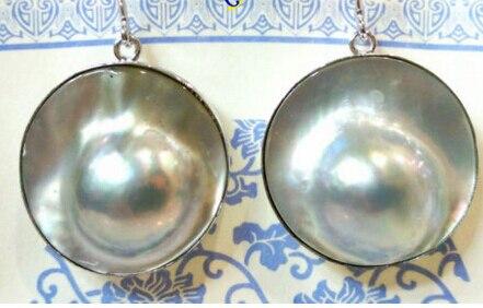 Livraison gratuite > > > > AAA 22 mm gris mer du sud Mabe perle boucles d'oreilles 925 s Dangle
