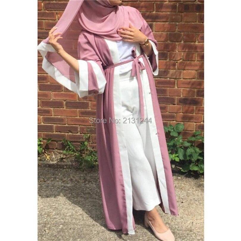 Muslim Bergaris Baju Gamis Hijab Tunik Cardigan Jubah Panjang Gaun Kimono Jubah Ramadan Arabturkish Thobe Shalat Pakaian Pakaian Islamic Aliexpress