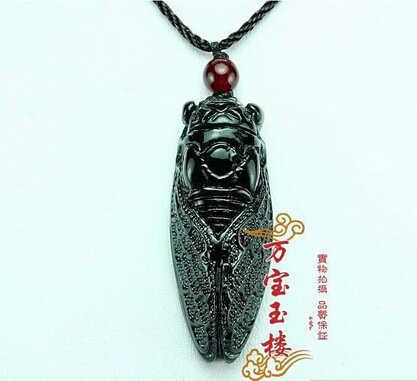 Бесплатная доставка >>@>> горячие продаем Натуральный Ручной резьбой Китайской Хотан Черный Цикада Нефритовая Подвеска Амулет