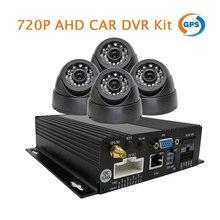Бесплатная Доставка 4CH 720 P HD ЭН GPS SD Автомобильный Видеорегистратор записи в Режиме реального времени Записи Комплект + 4 Автомобилей Грузовик AHD Купольная Камеры В автомобиле