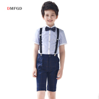 Fashion boys summer clothes kids clothes striped shirt plaid pants boy outfits formal tops party Dress costume short sets