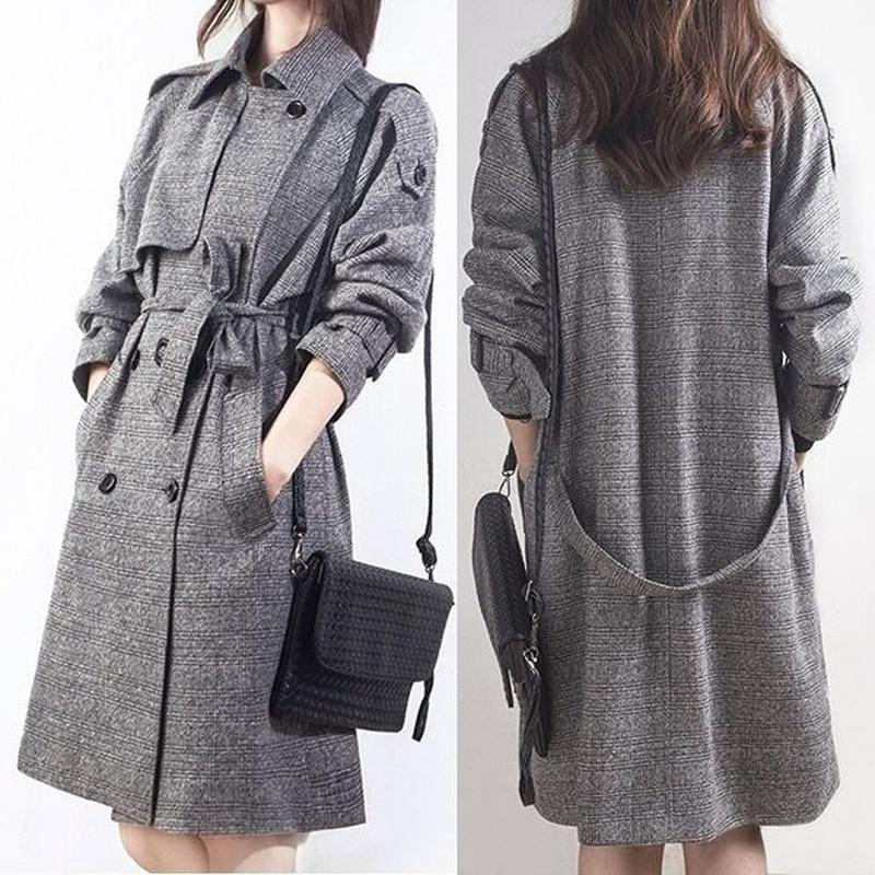 2019 Autumn Winter Wool Long Coat Winter New Large Size Double-breasted Windbreaker Jacket Female J704