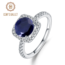 Gems Ballet 2.57Ct Natural Blue Sapphire 925 Sterling Silver Ring Fine Jewelry Gemstone Wedding Engagement Ring for Women