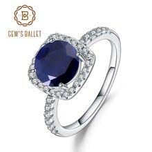 Mücevher bale 2.57Ct doğal mavi safir 925 ayar gümüş yüzük güzel takı taş düğün nişan yüzüğü kadınlar için