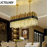 Dining Room Crystal Lamp Square Personalized Brief Modern Crystal Pendant Bronze Light