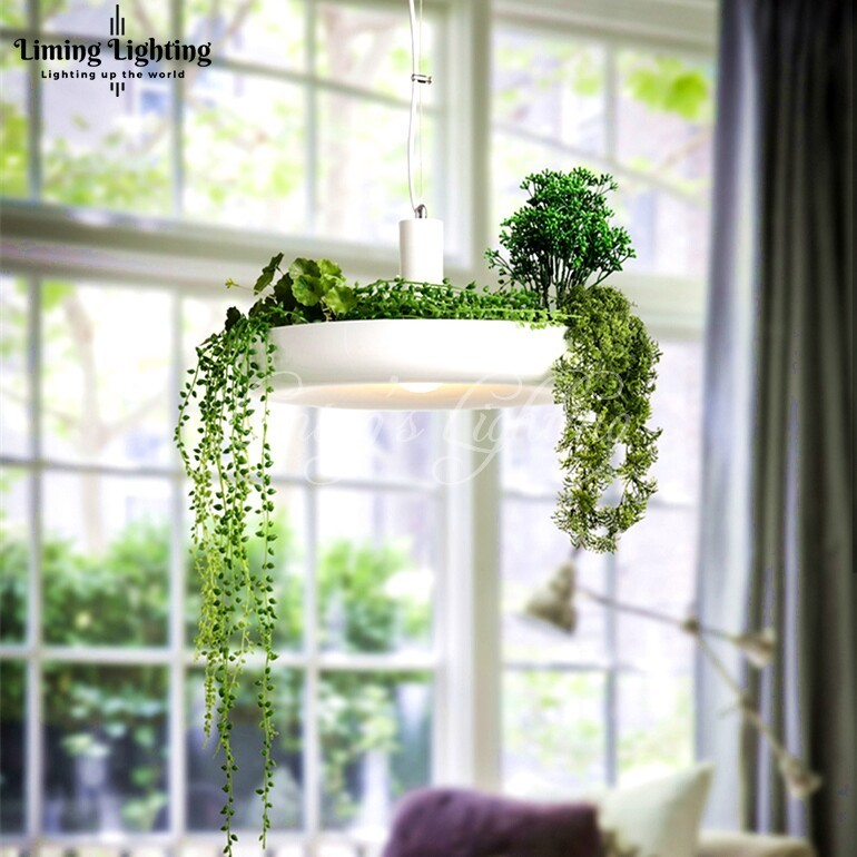 LED Hanging Gardens of Babylon Plants Lamp Pots Potted Nordic Tom Creative White Chandelier Lighting Without Plants and Flowers chic tropical plants and toucan pattern flax pillowcase without pillow inner