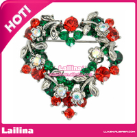 Nice Women Brooches high grade Multicolor Crystal Rhinestone Colored wreath Pins