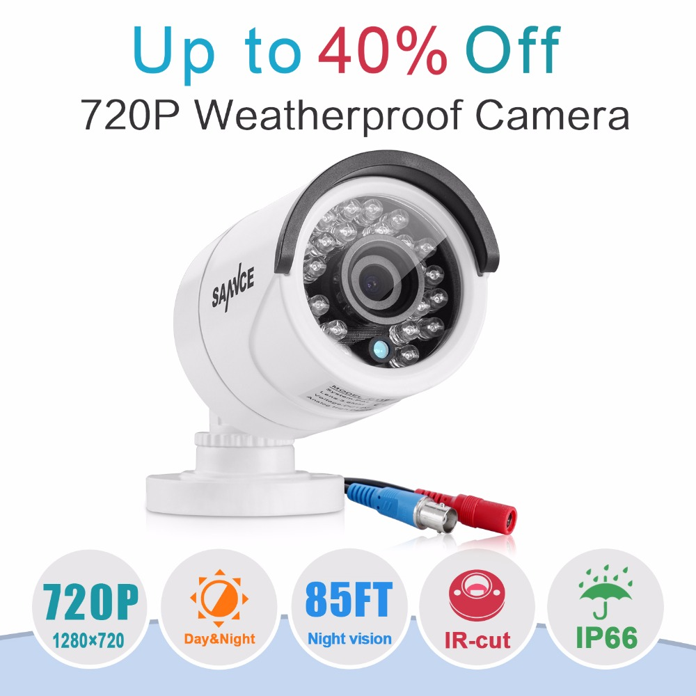 SANNCE 720P CCTV Camera 1200TVL IR Cut Filter Day/Night Vision Video Outdoor Waterproof IR Bullet Surveillance Security Camera hd bullet outdoor mini waterproof cctv camera 1200tvl ir cut night vision camara video surveillance security camera