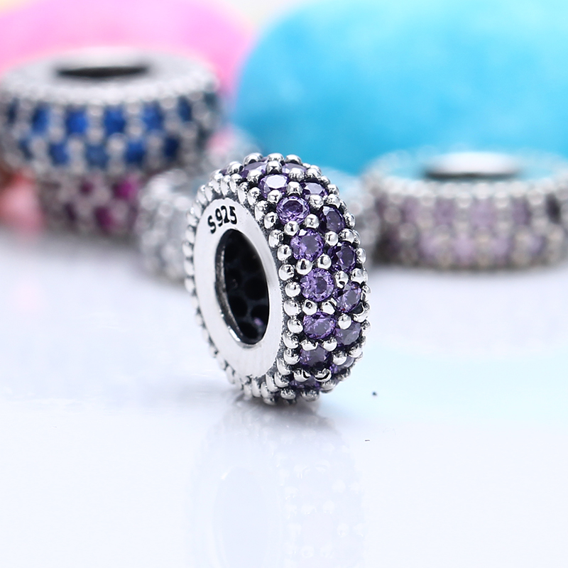 100% 925 Sterling Silver Fit Original Pandora Bracelet Luxury Inspiration Within Spacer Purple CZ Charm Beads for Jewelry Making