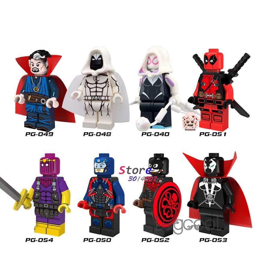 1 шт. модель строительные блоки супергерой паук-Гвен лунный рыцарь атом, Дэдпул Капитан Америка Spawn игрушки для детей подарок