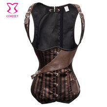 Striped Steel Boned Tank Corset Underbust Corpete Corselet Sexy Waist Training Gothic Bustier Corpetes e Espartilhos 2014