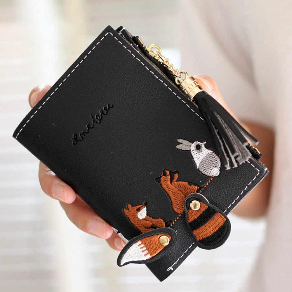 אישה מטבע ארנק שועל חתול קצר ארנקי מחזיקי כרטיס ציצית תיק חבילה גבירותיי ארנק billeteras mujer para יד ארנק נשים