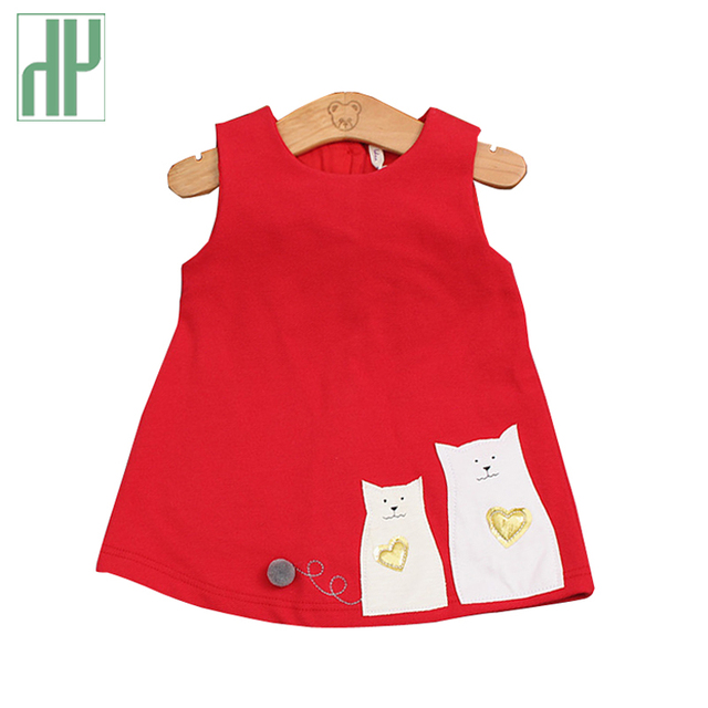 e657d4c2e9a1 Baby girl dress Autumn Summer Infant Cat printing Dress Girl Sleeveless  party 1 year girl baby birthday dress Baby Clothes