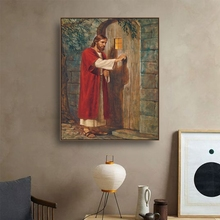 Jesus Knocked at The Door Canvas Painting Calligraphy Art Print Home Decor Canvas Wall Art Picture for Living Room Church все цены