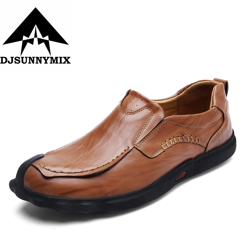 DJSUNNYMIX Brand 100% Genuine Leather Men Flats High Quality Loafers Men Moccasin Slip On driving Shoes top brand high quality genuine leather casual men shoes cow suede comfortable loafers soft breathable shoes men flats warm