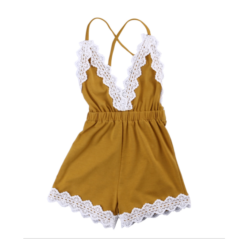 Baby Rompers 2018 New Baby Girls Clothes  For Girls Summer Spring Cotton Ruffle Sleeve Yellow lace Romper Toddler Jumpsuit Kids