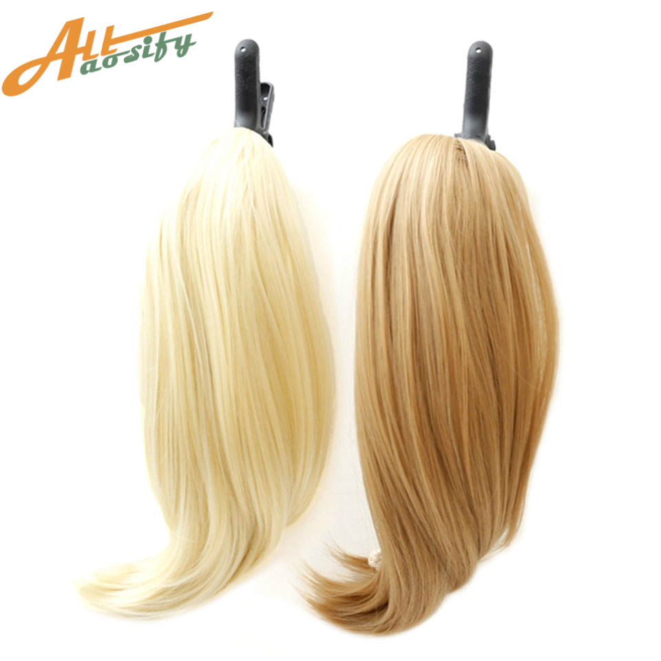 Allaosify 9 Color Straight High Temperature Synthetic Hair Pony Tail Hairpiece Blonde Gr ...