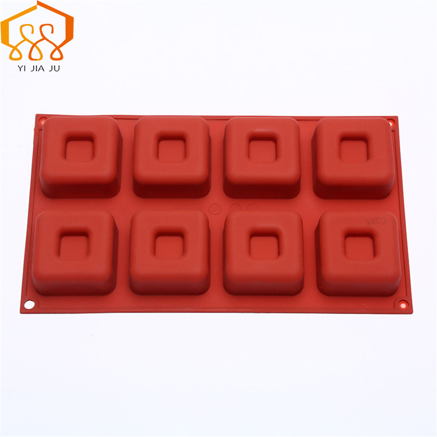 Cake Tools Kitchen Bakeware 8 Hole Square Silicone Chocolate Mold  DIY baking Tools For Cakes Mousse Chocolate Dessert Cake mold