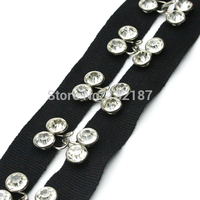Special Hand Made Glass Rhinestone Rivets On Black Cotton Tape With Brass Nickle Hook And Eye