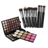 Pro 10pcs Makeup Brush Set 95 Colors Matte Shimmer Eyeshadow Palette Set
