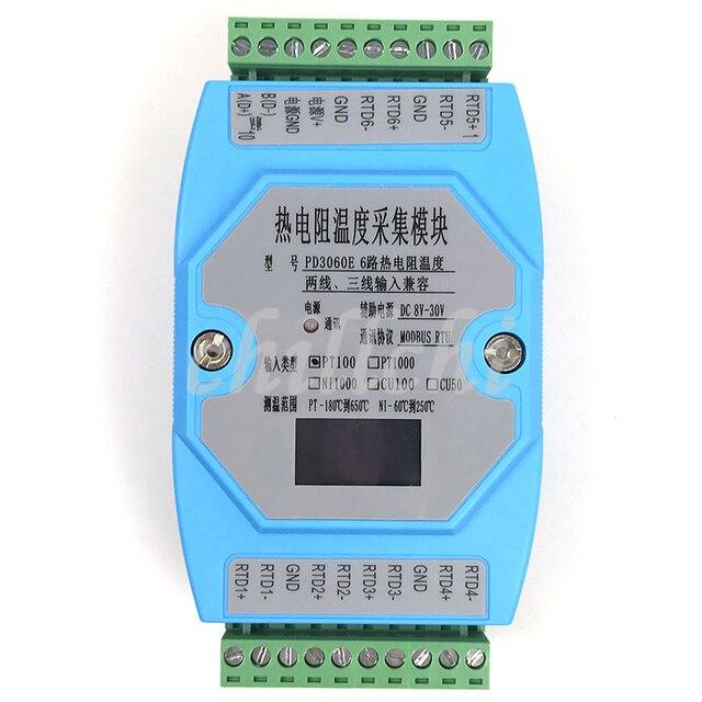 6 웨이 oled pt100 pt1000 cu50 cu100 ni1000 온도 수집 모듈 온도 트랜스미터 modbus rtu