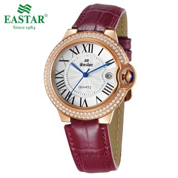 Eastar Women Elegant Luxury Quartz Watch Stainless Steel With Diamonds Waterproof 3ATM Leather Band Roman Index