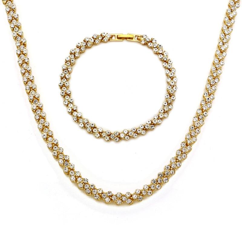 Shine Iced Out Heart Shape Necklace Bracelet 30 Inch Hip Hop Gold Long Chain Necklace For Women Men Rapper Jewelry Set Party