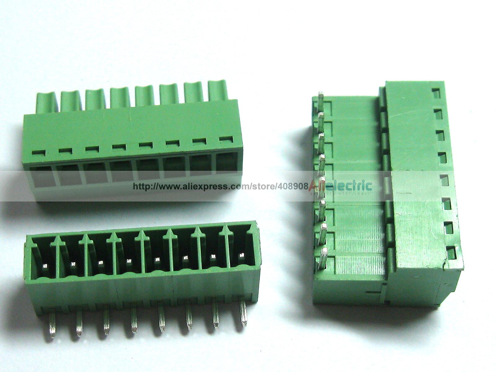 цена на 12 Pcs Screw Terminal Block Connector 3.5mm Angle 8 Pin Way Green Pluggable Type