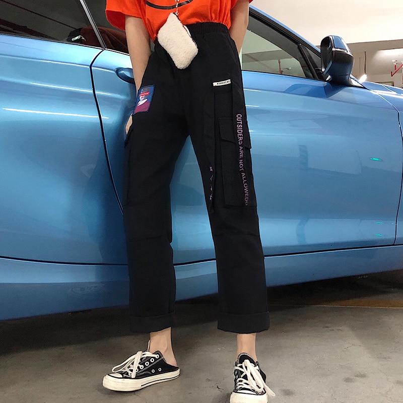 Pants Women Summer 2019 New Trendy Printed Womens Loose Elastic Waist Leisure Daily Pockets Harajuku Hip Hop Female Girls Retro 35