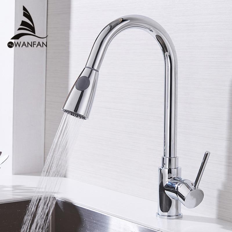 Grifos de cocina único de plata manejar sacar grifo de cocina solo agujero giratoria de 360 grados agua grifo mezclador 408906