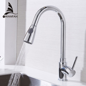 Image 1 - Kitchen Faucets Silver Single Handle Pull Out Kitchen Tap Single Hole Handle Swivel 360 Degree Water Mixer Tap Mixer Tap 408906