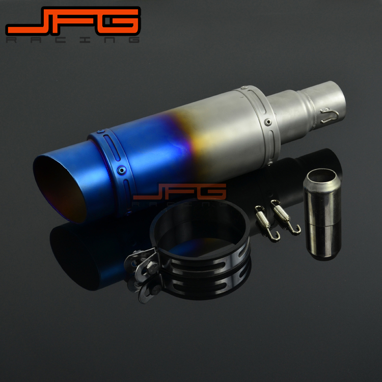 38MM-51MM Carbon Fiber Universal Pipe Exhaust Muffler GP Pipe For CBR600 CBR1000 GSXR600 GSXR1000 YZF R1 R6 DIRT BIKE length 360mm id 51mm carbon fiber motorcycle exhaust muffler pipe with silencer case for cb600 mt07 yzf duke fz6 atv dirt bike