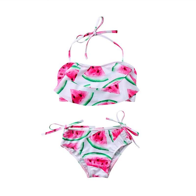 2018 קיץ ילד ילדים בנות הלטר קפלי בגדי ים בגדי ים אבטיח 2 יחידות תחתוני בגד ים וחוף רחצה