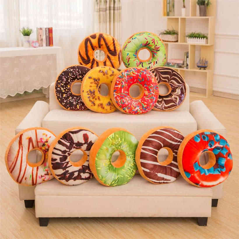 2018 New Quality Pillowcase Soft Plush Pillow Stuffed Seat Pad Sweet Donut Foods Case Toys 913