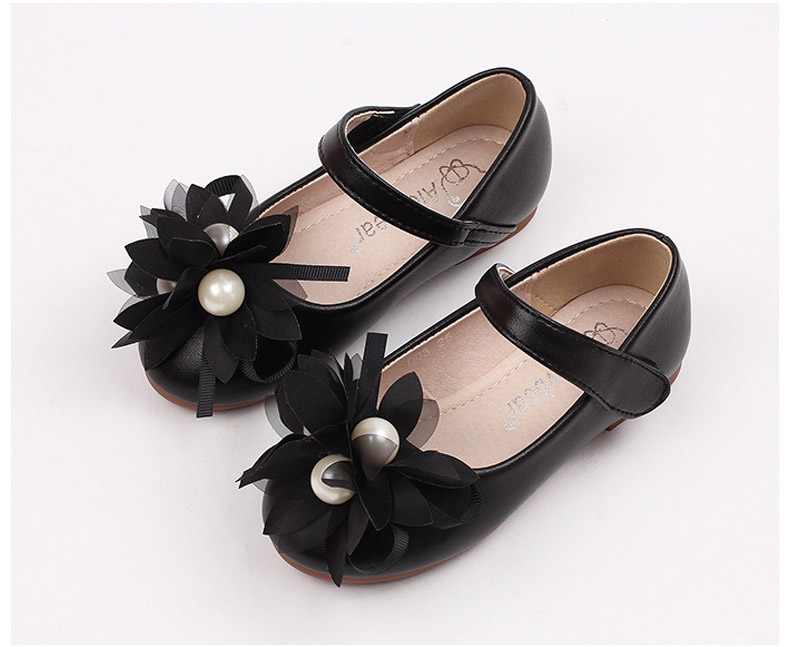 Girls flower pearl shoes, kids leather party wedding wear, spring/fall/summer wholesale, in black/pink, 11AS503-27, ELEVEN STORY