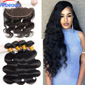 Mink Brazilian Body Wave With Closure 13x4 Ear To Ear Lace Frontal Closure With Bundles 6A Brazilian Virgin Hair With Closure