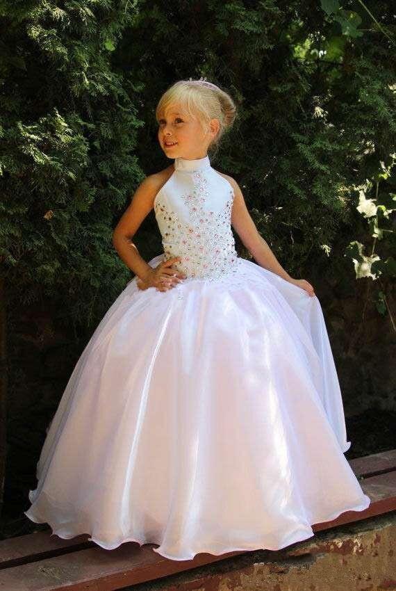 Cute 2019   Flower     Girl     Dresses   For Weddings Ball Gown Halter Organza Beaded Crystal Long First Communion   Dresses   For Little   Girls