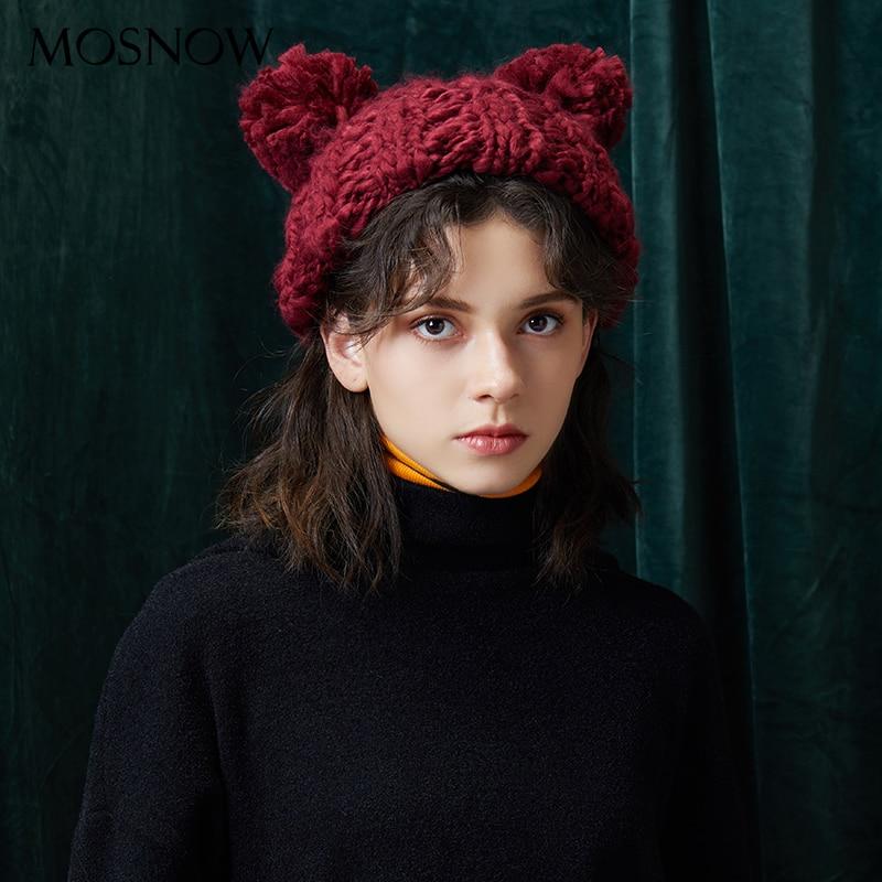 Gorro de invierno hecho a mano tejido de lana gruesa sombreros 2018 ... 217d13aa8ef