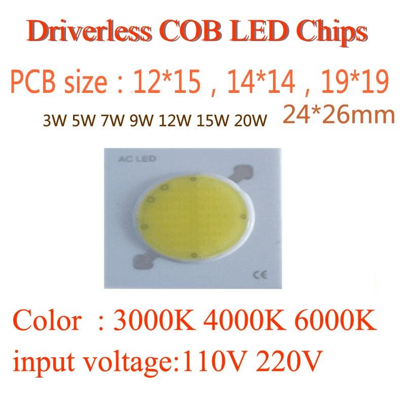 Nouveau PCB sans conducteur 3 W 5 W 7 W 9 W 12 W 15 W 20 W rond COB LED plafonnier propre lumière puce LED lampe blanc chaud blanc froid blanc
