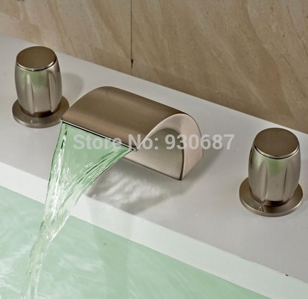 Современные светодиодные Цвет изменение Ванная комната раковина кран Матовый Никель смесителя