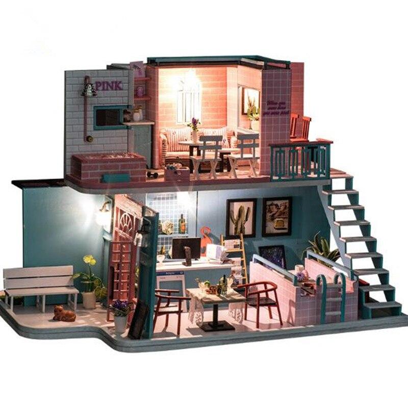Grande taille bricolage maison de poupée en bois Miniatura maisons de poupée Miniature maison de poupée jouet avec des meubles cadeau d'anniversaire K034 rose café magasin