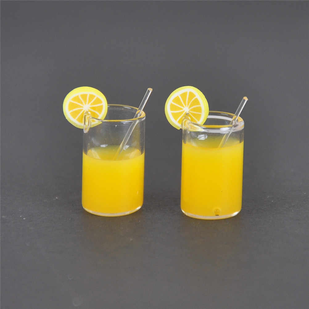 2pcs/lot Mini Resin Lemon Water Cup 1:12 Dollhouse Miniature Doll house Accessories Cups Toy Mini Decoration Gifts hot sale