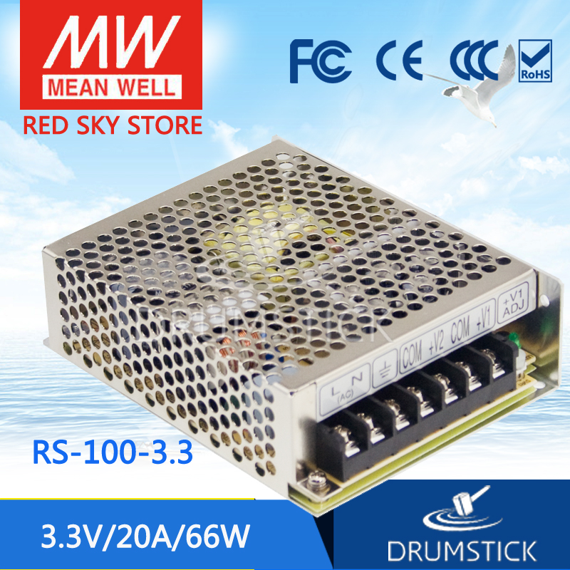Hot sale MEAN WELL RS-100-3.3 3.3V 20A meanwell RS-100 3.3V 66W Single Output Switching Power Supply hot sale 100